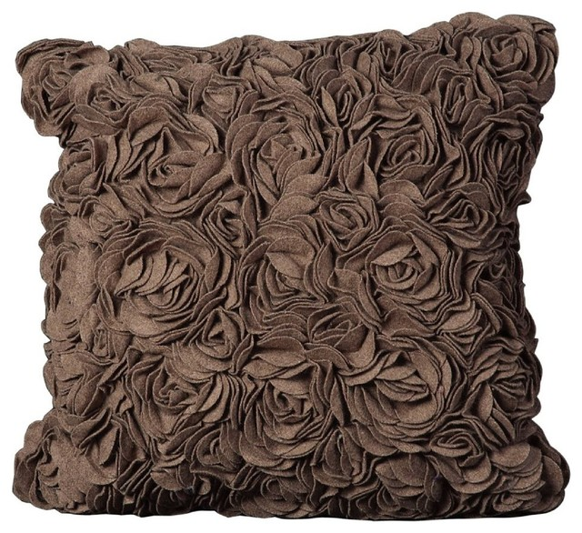 Light Brown Decorative Pillows : Country & Floral Felt Pillow Square Light Brown Decorative Pillow - Tropical - Decorative ...