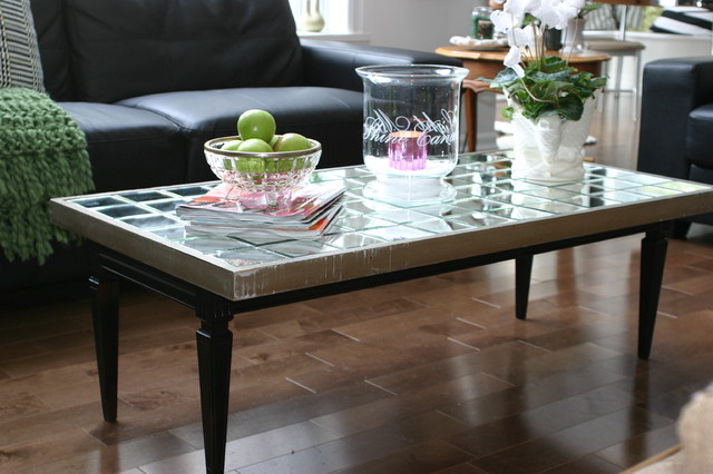 Diy mirrored coffee table eclectic coffee tables Eclectic coffee table makeovers