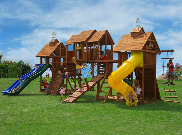 Biggest Backyard Playground : Huge Swing Sets  Traditional  Kids  other metro  by Kids Creations