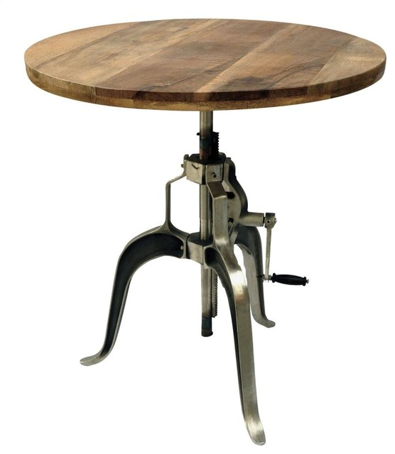 Industrial Adjustable Crank Dining Table With Mango Wood  : industrial dining tables from www.houzz.com size 556 x 640 jpeg 37kB