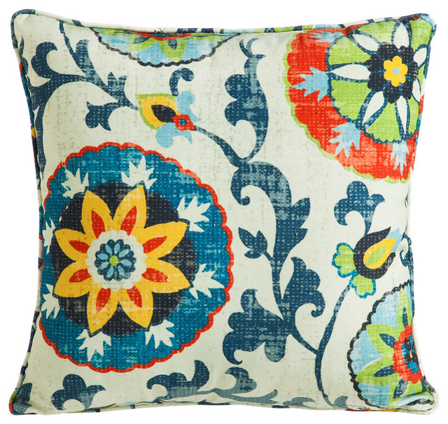 Modern Botanical Pillow : Botanical Medallion Persian Patchwork Decorative Pillow contemporary-decorative-pillows