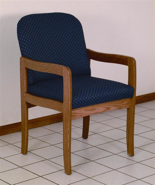 Wood Arm Chairs For Office ~ Solid wood arm chair w medium oak finish soft upholstery