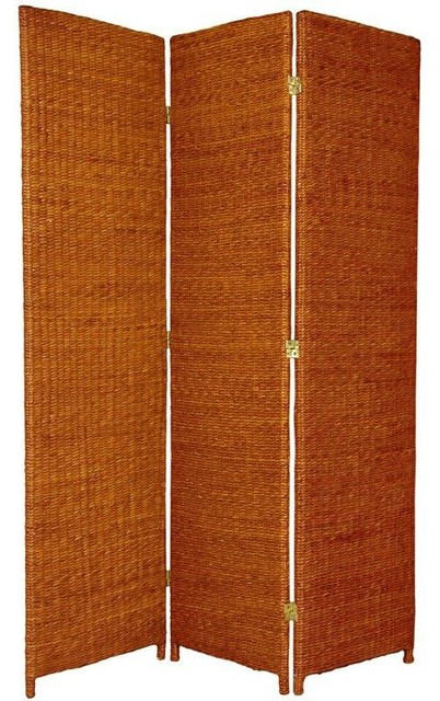 6 Ft Tall Solid Frame Fabric Room Divider 4 Panels: 6 Ft. Tall Rush Grass Woven Room Divider