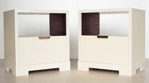 Parchment bedside tables by jallu ebenistes contemporain for Table de nuit new york
