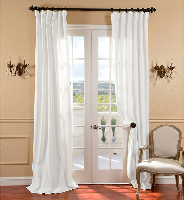 White Belgium Linen Curtain Panel Traditional Curtains