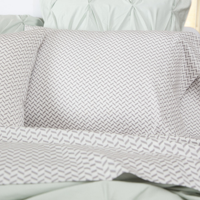 Grey Herringbone Sheet Set Contemporary Sheet And
