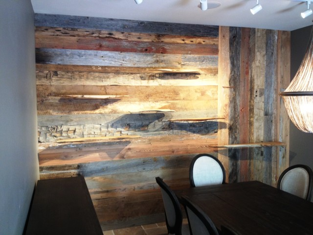 Reclaimed wooden wall w floating live edge shelves for Where to buy reclaimed wood los angeles