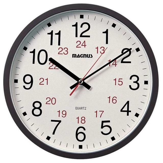Dainolite 12/24 Hour Black Clock Sweep Style Second Hand - Contemporary - Wall Clocks - by ...