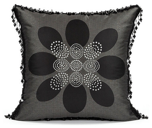 Black Beaded Throw Pillow : 20