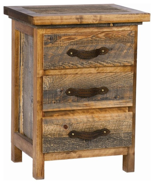 3 drawer rustic wood nightstand contoured aspen for Modern bedside tables nightstands