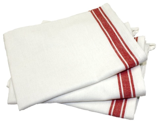 White Dish Towels With Red Stripe   Aunt Marthas Vintage Dish Towels, Red  Striped