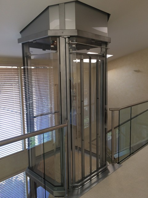 Visi round home elevator newton ma modern entry for Modern home elevators