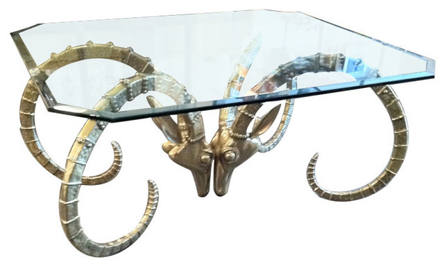 1960s Brass Rams Head Coffee Table Eclectic Coffee