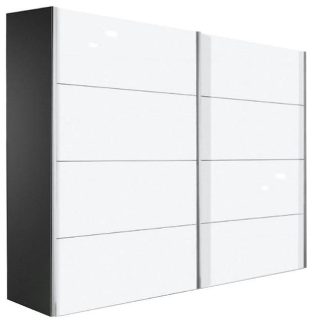 Kick 202cm coloris blanc brillant avec cadre noir et portes coulissantes contemporain for Idee amenagement porte coulissantes sur comble saint paul