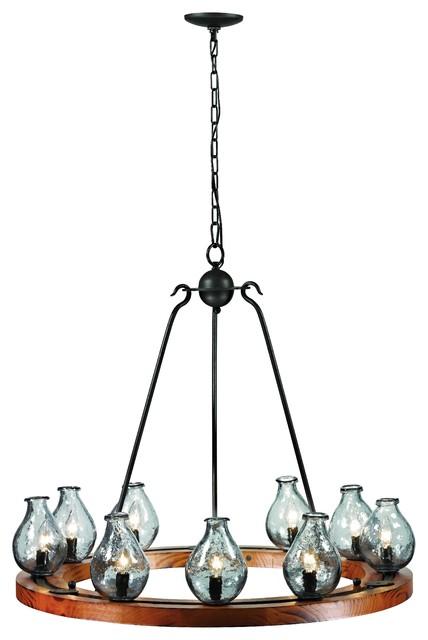 Trans Globe Lighting Nine Chandelier In Black And Wood