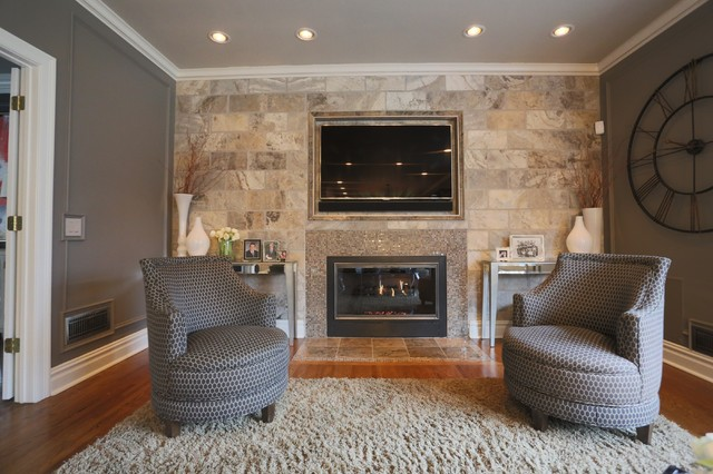 stone tile wall living room with embedded tv and fireplace contemporary new york by joseph. Black Bedroom Furniture Sets. Home Design Ideas