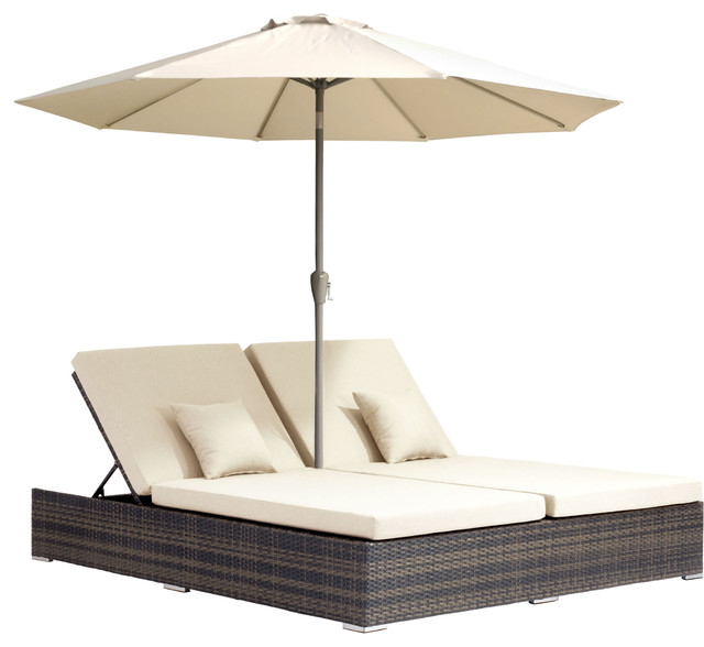 Atlantic outdoor double chaise lounge brown modern for Brown chaise lounge outdoor