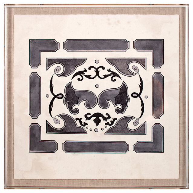 Parterre grey 2 framed print transitional paintings for Decor de parterre
