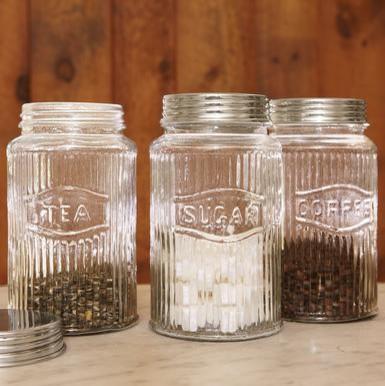 Vintage Pressed Glass Jars Traditional Kitchen