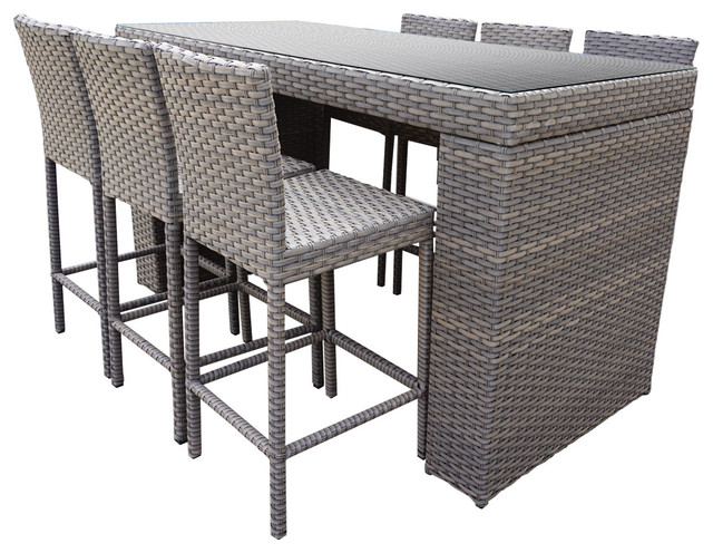 Harmony Bar Table Set With Barstools 7 Piece Outdoor Wicker Patio Furniture Tropical Outdoor
