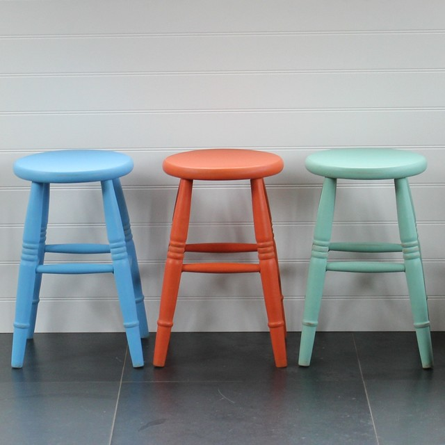 Hand Painted Low Stool Country Bar Stools And Kitchen