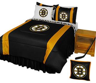 Nhl boston bruins bedding set hockey bed queen for Bruins bedroom ideas