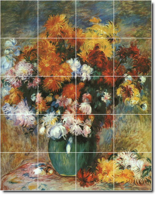Auguste renoir flowers painting ceramic tile mural 18 48 for Ceramic mural art