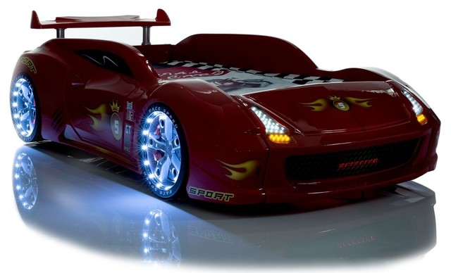 Black Lamborghini Race Car Bed with LED lights