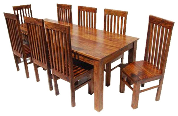Lincoln Wood 9 Piece Dining Set Rustic Dining Sets