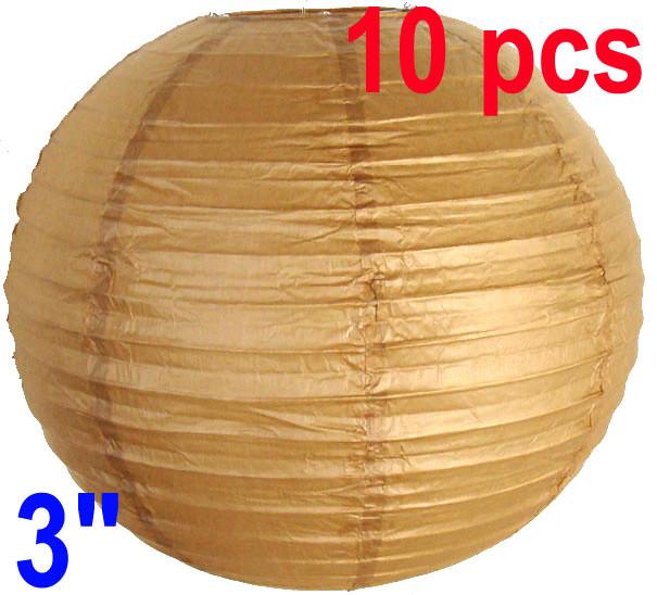"3"" Brown Chinese Japanese Mini Paper Lanterns (10)Home Decor"