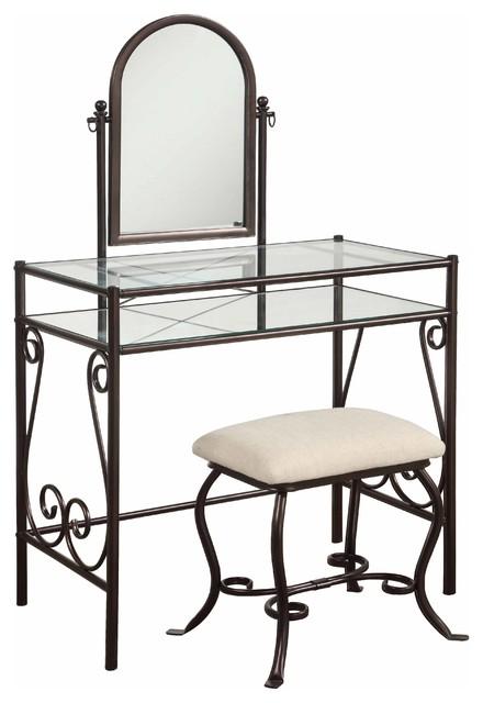 Clarisse Metal Vanity Set Traditional Bedroom Makeup Vanities By