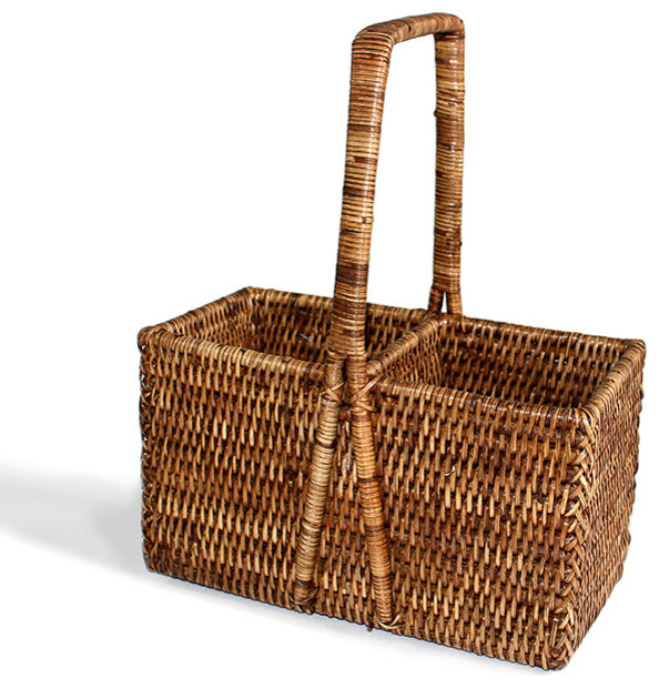 Rattan Wine Carrier Basket - Tropical - Baskets - by ...