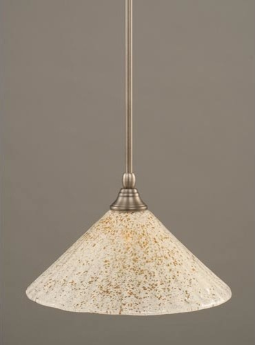 Brushed Nickel e Light Mini Pendant with Gold Ice Glass
