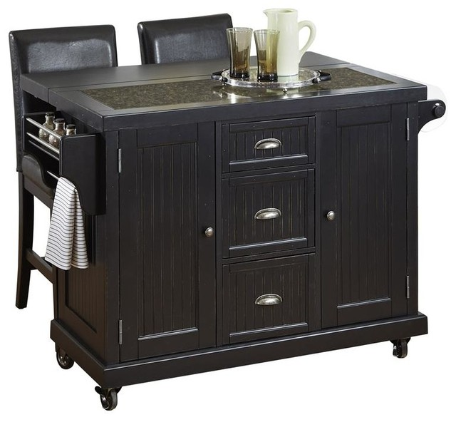 Distressed Black Kitchen Cart And Two Stools