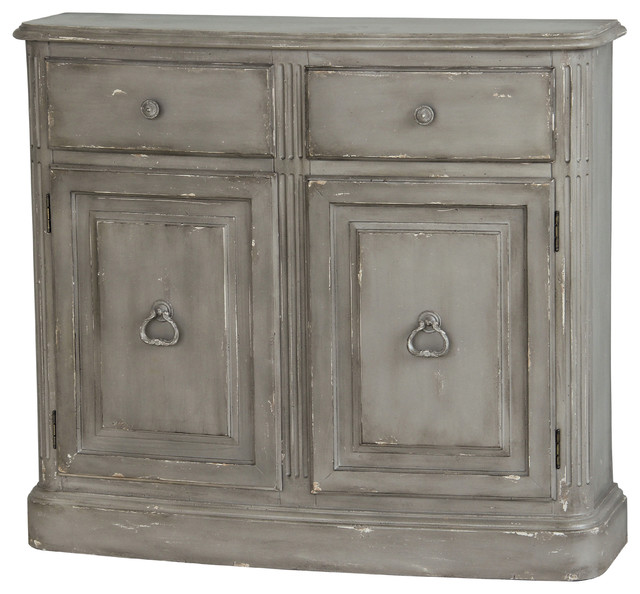 Weathered Gray Kitchen Cabinets: Hand Painted Distressed Weathered Light Grey Finish Accent