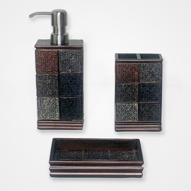 Brown Bathroom Accessories Sets : Tivoli brown resin tile patterned bath accessory piece