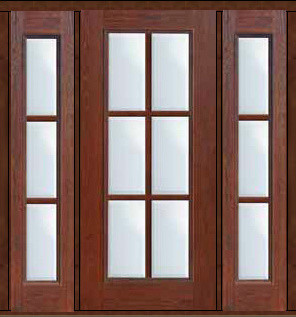 Prehung French Sidelights Door 80 Fiberglass 6 Lite Full