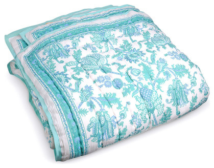Amanda quilt turquoise eclectic quilts and quilt sets by furbish studio for Boutis turquoise