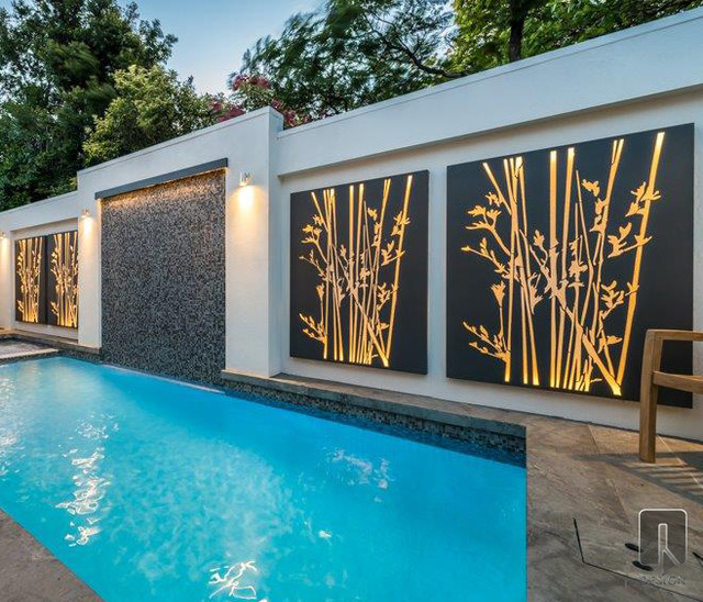Reeds outdoor screening and wall panels contemporary for Home design outside wall