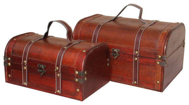 Decorative wooden treasure boxes set of 2 rustic - Decorative trunks and boxes ...