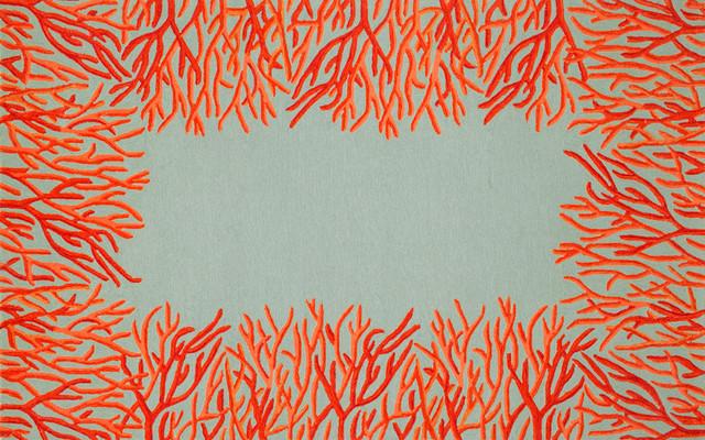 Outdoor Coral Border Rug Orange Contemporary Outdoor