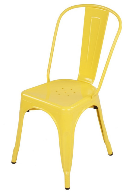 Tolix style metal industrial loft designer yellow cafe for Modern yellow dining chairs