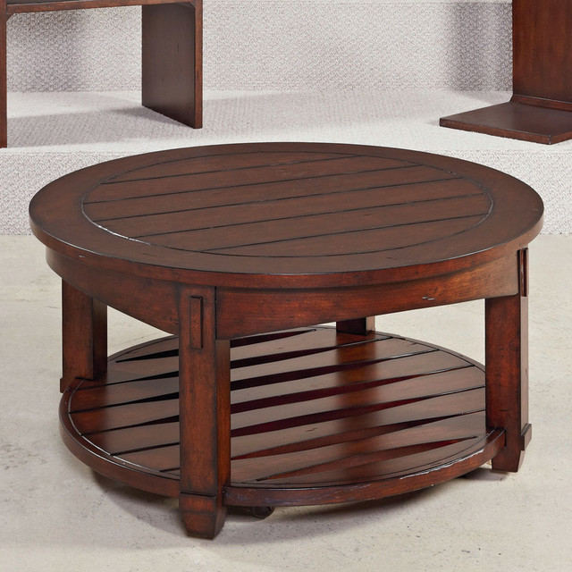Hammary Tacoma Round Cocktail Table In Rustic Brown Contemporary Coffee Tables By Beyond