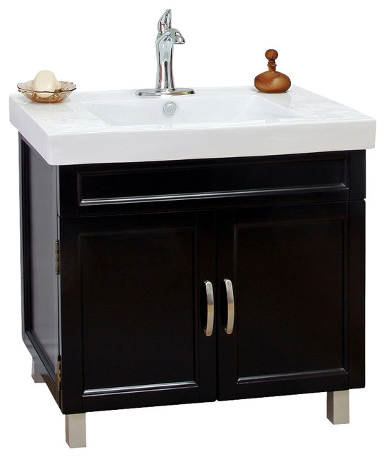 Bellaterra 31 5 Single Sink Vanity Wood Black Contemporary Bathroo