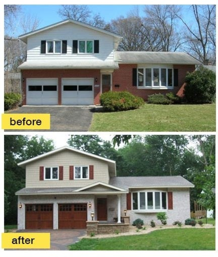 Split Level Home Exterior Makeover: Before And After Garage Makeovers