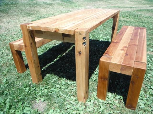 Bolt Cedar Patio Table Amp Benches Farmhouse Patio