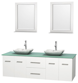 Centra 72 White Double Vanity Green Glass Top White Carrera Marble Si