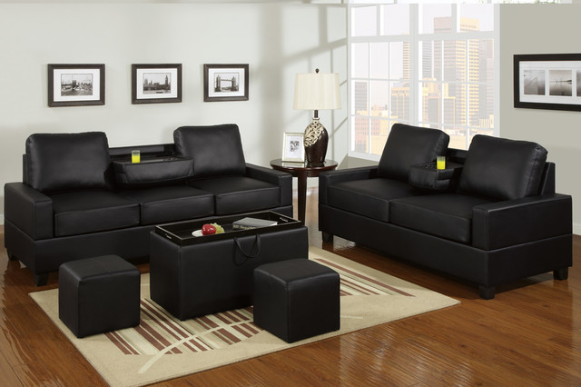 black leather sofa couch loveseat modern center console cup holder. Black Bedroom Furniture Sets. Home Design Ideas