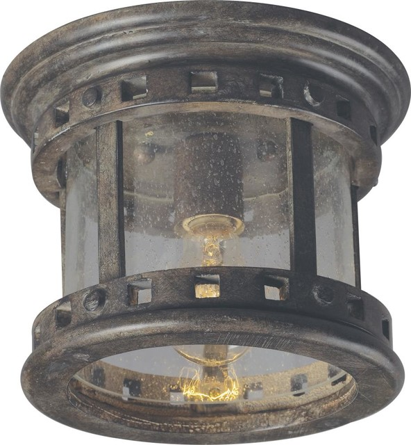 one light sienna seedy glass outdoor flush mount