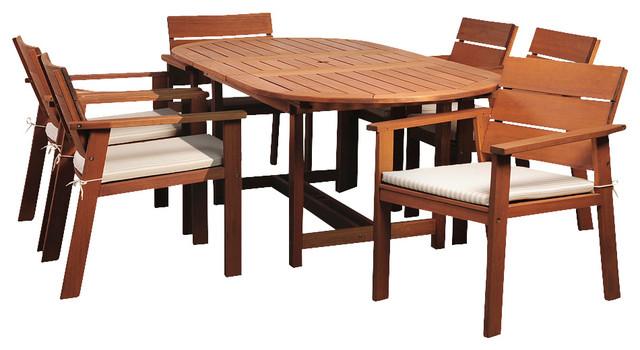 Amazonia Nelson Eucayptus 7 Piece Oval Extendable Dining